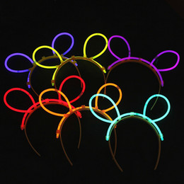 Wholesale Hair Glow Sticks - Multi Color Glow Fluorescence hairpin LED Hair band Light Luminous Sticks Neon Xmas Halloween Party Flashing Novelty Toy GS0885R