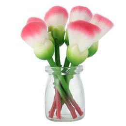 2019 kit para hacer flores Cosmetic Pro Gujhui 6pcs Rose Flower Makeup Brushes Set Blush Foundation Contour Loose Powder Base Highlighter Make Up Brush Kit rebajas kit para hacer flores