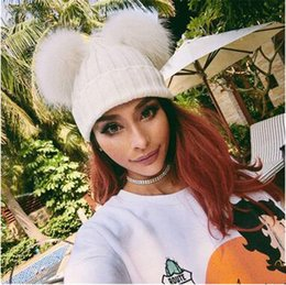 Wholesale Hot Ladys - Hot Sale Women's Knitted Hats Solid Double Fur Ball Woolen Hats Fashion Sweety Ladys Winter Hats Beanie 6 Color