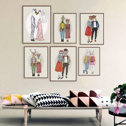 Wholesale Couple Painting Canvas - Modern Fashion Animal Deer Giraffe Love Couple Art Print Poster Home Wall Picture Canvas Painting No Frame Wedding Decoration