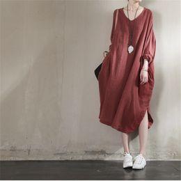 Wholesale Plus Size White Linen Dress - Wholesale-Johnature 2016 Summer New Women Clothes Loose Batwing Sleeve Plus Size Dress Cotton Linen Irregular Design Solid Dress