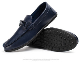 Wholesale Men Peas Shoes - 100% Genuine leather men flats Peas shoes, men casual loafers boat shoes, slip on driving walking ballet, free shipping