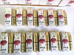 Wholesale Glow Gloss - newest! 1pcs Gold Kylie Matte Lipstick Lip jenner Lipstick Kylie Lip Gloss fashion lipstick Make up Cosmetics PINK Kylie birthday GLOW KIT