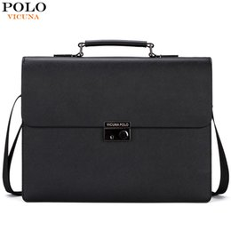 Wholesale Briefcases Lock - Wholesale-VICUNA POLO Luxury Italy Brand Leather Men Briefcase Bag With Theftproof Lock Business Office Leather Briefcase maletin hombre