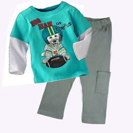 Хлопок бейсбол штаны онлайн-Бейсбол мальчиков одежда устанавливает дети спортивный костюм дети тройники рубашки брюки одежда костюм мальчиков наряды хлопок BoyT рубашка брюки