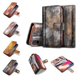 Wholesale Magnet Cover Iphone 5s - Wallet Leather Phone Case for iphone x 8 7 6 6s 5 5s SE Magnet 3 Card Slots Flip Cover for Samsung S8 S7 Card Holder Back Cover Cases OPPBag