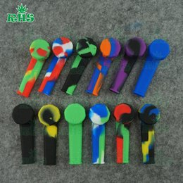 Wholesale Novelty Wholesale Pipes - Popular in US Silicone Smoking Pipes Glass Pipe Spoon Pipes Smoking Accessories Dry Herbs Hand Pipes Smoking Pipe Novelty Free Shipping