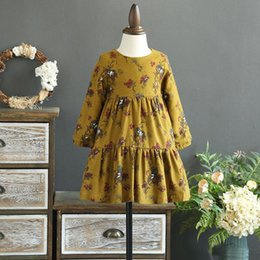 Wholesale Girls Pure Cotton Flowered Dresses - New Pricness Dress Children Clothes Long Sleeve Floral Printed Kids Girls Dresses Pure Cotton Flower Girl Party Dress Blue Yellow