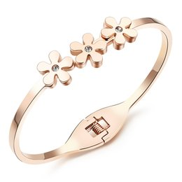 Wholesale Stacking Bangles - Rose Gold Plated Clear Crystal Stacked Daisy Cuff Bangles in Stainless Steel