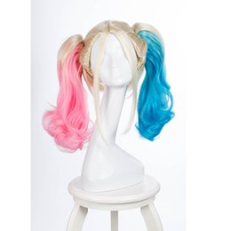 Wholesale Clown Cosplay - Film Movie Suicide Squad Harley Quinn Cosplay Costume Wig Batman Clown Curly Gradient Wigs synthetic Heat Resistant Fibre wigs