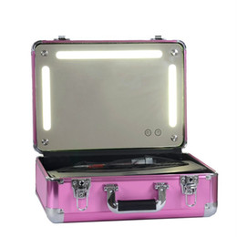 Wholesale Led Trunk - Portable Travel Cosmetic Case Bag Women Makeup Organizer Box with Lights Led Storage Cosmetic Cases Black  Pink  Golden