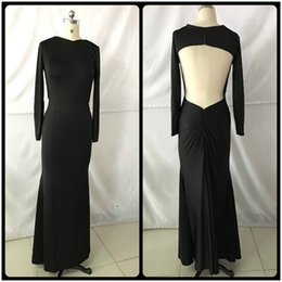 Wholesale Teen Black Evening Dresses - Real Photos 2017 Simple Black Mermaid Prom Dresses Sexy Open Back Long Sleeves Dress For Teens Evening Gowns