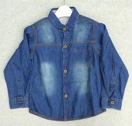 Wholesale Korean Style Shirt New Kids - Boys Denim Shirt Long Sleeves T-shirt Children Clothes New Summer Cotton 100% T-shirts Korean Style Denim Shirts Kids Shirt