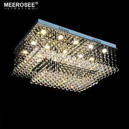 2019 sala de estar luces de techo rectángulo Preciosa lámpara de araña de cristal Rectangular Lámpara de cristal para el salón Comedor Techo Lustres lamparas de techo abajur rebajas sala de estar luces de techo rectángulo