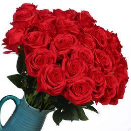 2019 fitas de hula 10 Pcs / lot flores artificiais de seda Rosas real toque Bridal Bouquet de casamento para a decoração floral Início Garden Party