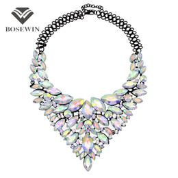 Wholesale Gems Rhinestones - Colorful Gems Big Maxi Necklaces For Women fashion New Luxury Bridal Statement Jewelry Collar Choker Necklaces & Pendants CE3954