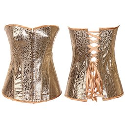 Wholesale Plus Size Lingerie Sexy Corsets - In Stock Hot Sexy Gold Artificial Faux PU Leather Corset Basques Lingerie 845