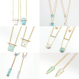 Wholesale White Gold Blue Stone Pendant - Fashion White Blue Turquoise Pendant Necklace,Gold Plated Layer Necklace With Square Rectangular Round Geometry Stone Women Jewelry 89705