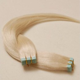 Wholesale Hair Extension Tape Blonde - 7A grade 100g 40pcs PU skin weft tape in hair extensions #613 human hair extensions DHL free shipping