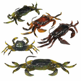 Wholesale Crab Tools - 5Pcs Lifelike Artificial Soft Fishing Lures Crab Bait With Sharp Hooks Fishing Tackle Accessory Tool Free Shipping Cr100