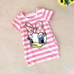 Wholesale Duck Dress Baby Girl - Wholesale- 2016 latest summer baby girls striped dress children cartoon Donald Duck print 0-24 months baby long section T-shirt Dresses