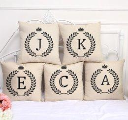Wholesale Eco Z - A-Z 26 English Letter Alphabet Pillow Case Cushion Cover Linen Cotton Throw Pillowcases Sofa Car Pillowcover 45*45cm KKA2265