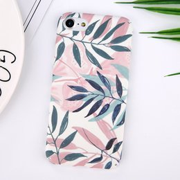Wholesale Hard Case Leaves - Fashion Plants Leaves Print Phone Case For iPhone 6 6S 6Plus 7 7plus Hard PC Matte Full Protect Back Cover