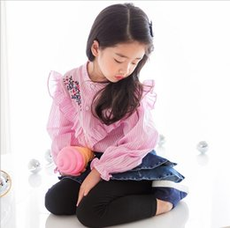 Wholesale Toddler Pink Blouse - toddler clothing Korean Flower Embroidered Long Sleeve Children Shirts Sweet Ruffle Kids Stripe Tops Girls Blouses C2365