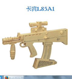 Wholesale Wood Toy Guns - New and new wooden carabine machine gun 3D DIY simulation puzzle wooden 3D toy children's Christmas New Year gift