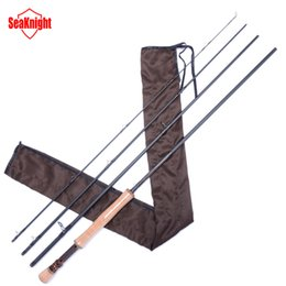 Wholesale Rods Handles - Wholesale-SeaKnight MAXWAY Series Honor New 7 8# 4 Sections 3.0M 40T Carbon 3A Soft Wooden Handle FUJI Rings Fly Fishing Rod Fly Rod