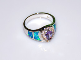 Wholesale Jewelry Blue Stone Rings - Wholesale & Retail Fashion Fine Blue Fire Opal Rings with Blue Cubic Zirconia Stone 925 Silver Plated Jewelry RAL152502