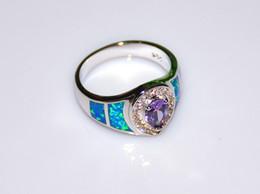 925 побитых камнями колец онлайн-Оптовая торговля розничная мода штраф синий Огненный опал кольца с голубой цирконий камень 925 посеребренные ювелирные изделия RAL152502