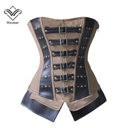 Wholesale Lace Up Corset Shapewear - Wholesale-Steampunk Corset Brown Womens Corset Leather Overbust Bustiers Lace Up Shapewear Modeladora Corsets and Bustiers Corselet