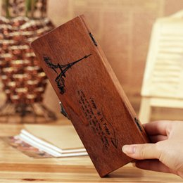 Wholesale black wooden pencil - Free Shipping retro old wooden pencil box wood jewelry box wooden tower multifunctional stationery box Eiffel Tower