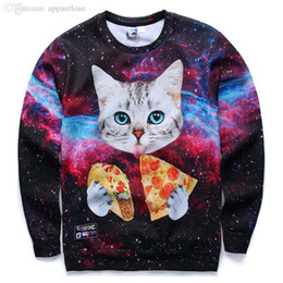 Wholesale Galaxy Cats Sweatshirts - Wholesale-[Andy] New Galaxy 3d sweatshirts for men women casual hoodies funny print stars night cute cat eating Pizza sports hoodies