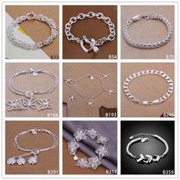 Wholesale Silver Bracelets Butterfly - Stone mandrel hanging space butterfly rose sterling silver bracelet 8 pieces mixed style GTB33 Hot sale women's 925 silver bracelet