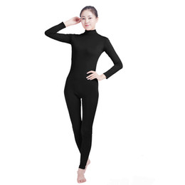 Wholesale Red Jumpsuit Costume - Ensnovo Unisex Cosplay Nylon Spandex Jumpsuits and Rompers Lycra Bodysuit Turtleneck Spandex Long Sleeve Suit Footless Unitard