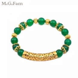 Wholesale 24k gold bracelets for women - MGFam (262B) Green Bead Beaded Bracelet Jewelry for Women 17cm Adjusted Fashion 24k Gold Plated