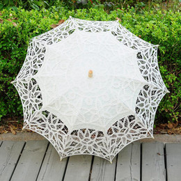 Wholesale Cotton Umbrella Wholesale - Lace Parasol Umbrella Handmade Wedding Umbrellas Lace Cotton Embroidery Bridal Umbrella Embroidered Lace Umbrellas 3 Colors OOA2889