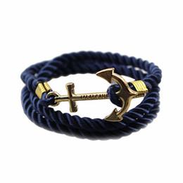 Corda di ancoraggio d'epoca online-2016 New Fashion Hot Vintage Anchor Bracciale Uomo Donna Trendy Braccialetto di corda Accessori moda Fine jewelry regalo