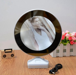 Wholesale Led Pictures Wholesale - LED Photo Frame With Mirror Wedding Picture Fram Plastic Mirror Photo Frame Art Home Decor OOA2495