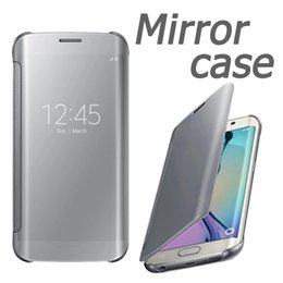 Wholesale Original View Cover - Official Original Design Mirror View Clear Flip PC Plastic Cover Case For Samsung Galaxy S6 Edge Plus S7 Edge No With Retail Package 10pcs