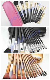Wholesale Hot Pink Gold - HOT Makeup Brushes 12 pieces Professional Makeup Brush set Kit Pink Black  nude gold+FREE GIFT