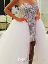 Wholesale Diamond Ball Dresses - Removable Skirt High Low Wedding Dresses 2017 Diamonds Crystals Short Front Long Back Detachable Train Bridal Gowns Custom Size