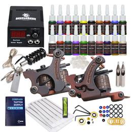 Wholesale Shader Needles - Beginner tattoo kit 2 Guns set liner & shader 20 color Inks Power Supply Needles best selling HW-9GD-13