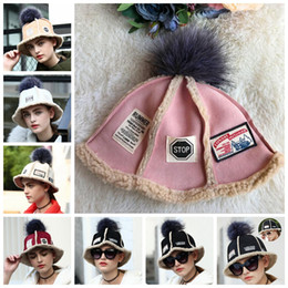 Wholesale Ball Bucket - Kids Winter Knitted Ball Hats Baby Adults Korean Style Lambskin Suede Knitted Bucket Hat 6 Colors OOA2875
