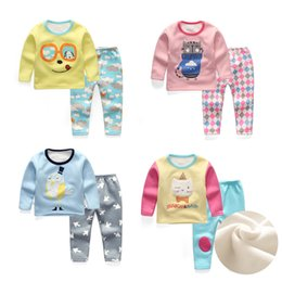 Wholesale Cotton Red Pajamas For Kids - Fashion Winter Pajamas Girls Boys Fleece Sleepwear Sets Kids Clothes Nightwear Homewear 2pcs clothing sets for 2-8 years