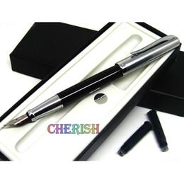 Wholesale Fountain Pen Ink Cartridges Black - Hot Duke 209 luxury black and silver fine nib art ink steel brand cartridge fine fountain pen with two ink free shipping