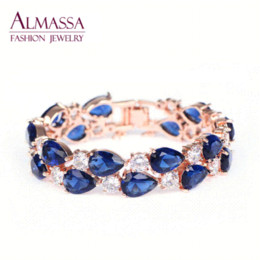 Wholesale Hot Lisa - Hot Sale Rose Gold Plated My Mona Lisa Sapphire and White Color AAA+ Cubic Zirconia Diamond Emerald Women Bracelets For Party