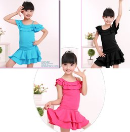 Wholesale Ballroom Latin Dance Dress Children - Girls Children Unequal Dew Shoulder Lotus Neck Ballroom Latin Dance Wear Solid Color Kids Latin Practice Dress With Panties